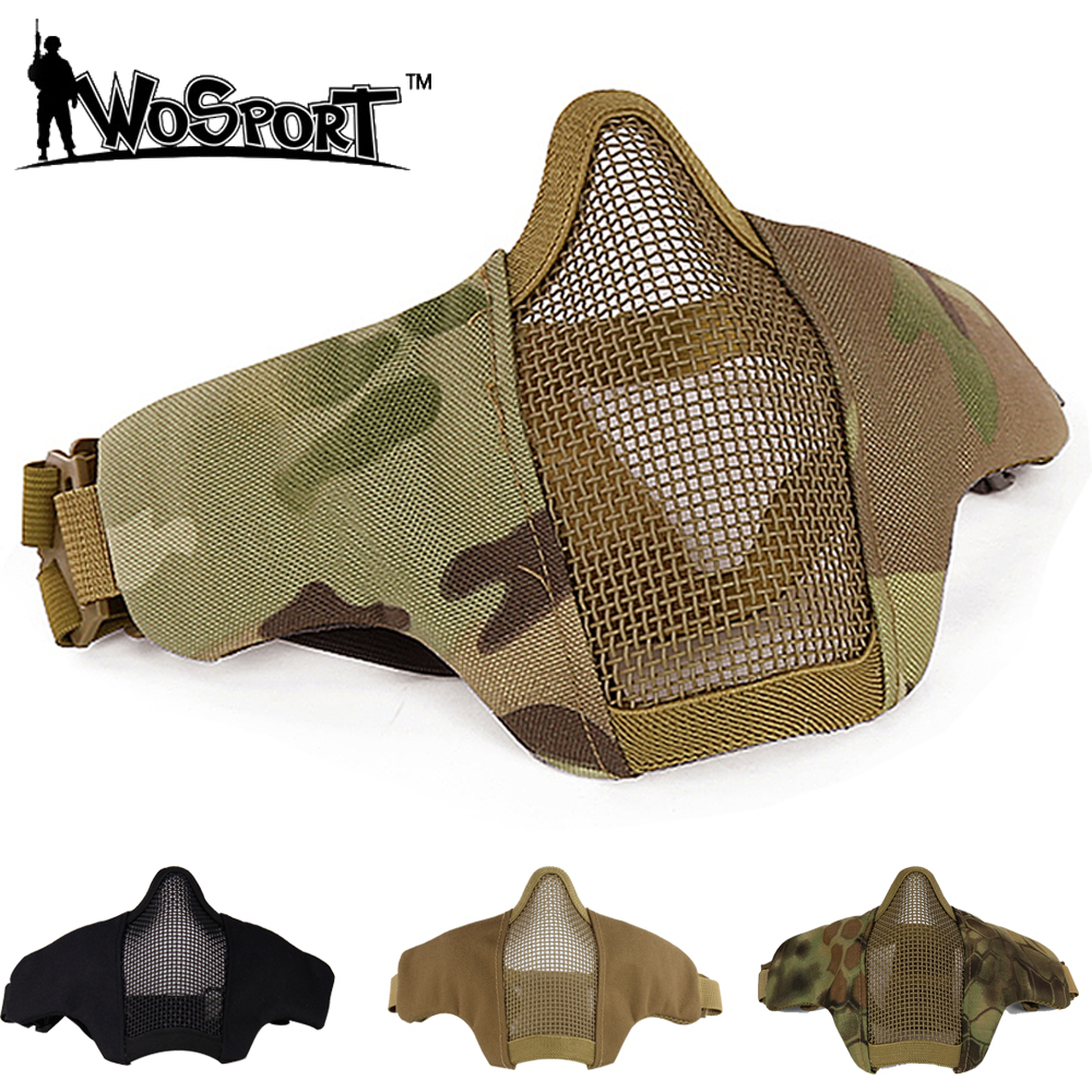 Hunting Mask Airsoft Half Lower Face Metal Steel Net Mesh Mask Tactical Protective CS Field Wargame Cosplay Halloween Mask