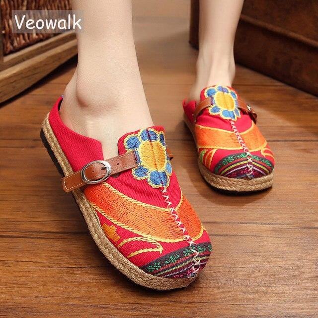 Veowalk colorido arco íris feminino casual linho de malha artesanal mulas chinelos retro verão senhoras casuais lona conforto sapatos