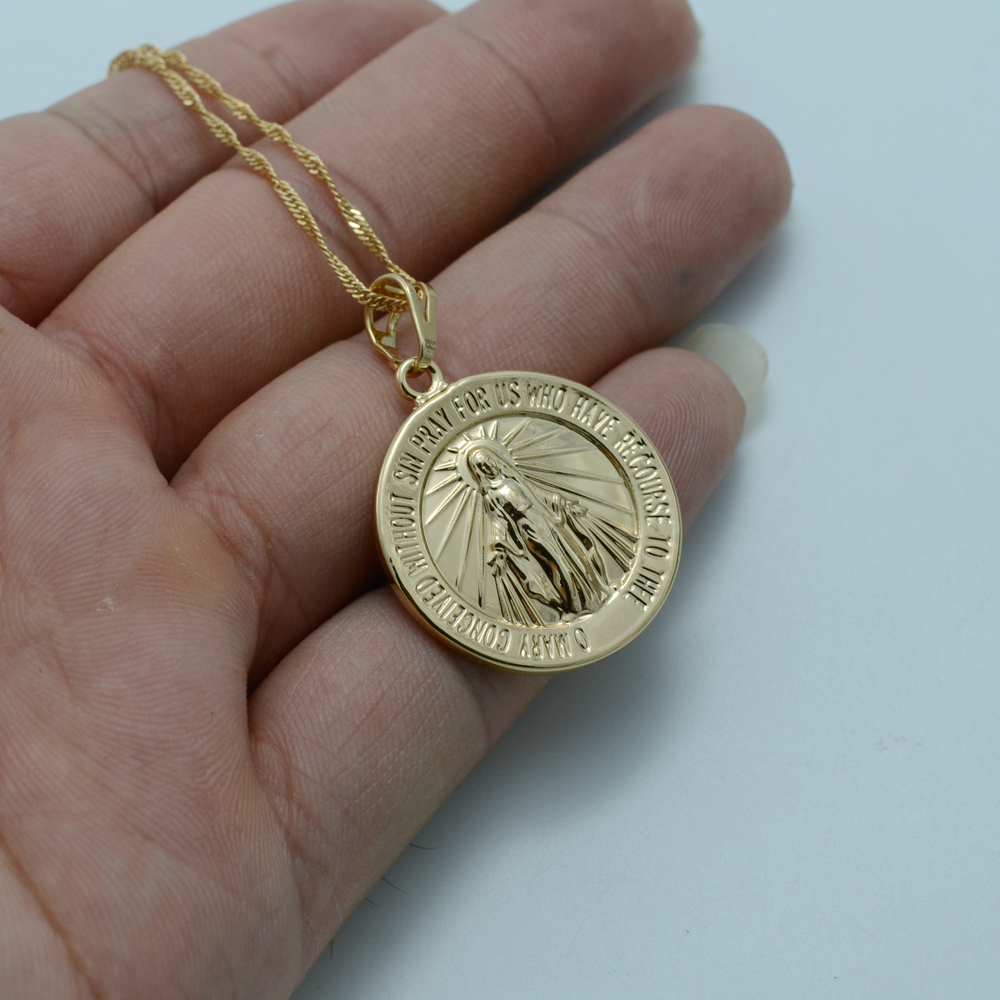 Anniyo Virgin Mary NecklaceMary Conceived Without Sin Pray Pendant
