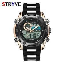 Summer Swim 30m Waterproof Sport Watch Stryve Brand Military Heavy Dial Men Dual Time Zone Quartz Digital horloges mannen