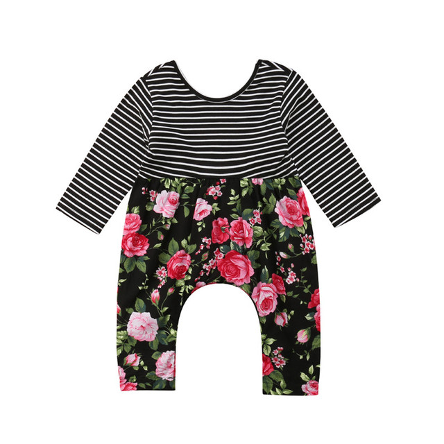 834c1f8b7 Newborn Infant Baby Girl Floral Striped Long Sleeve Romper Jumpsuit ...
