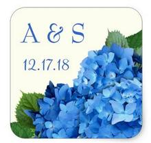 1.5inch Wedding Monogram Favor Label Blue Hydrangeas Square Sticker