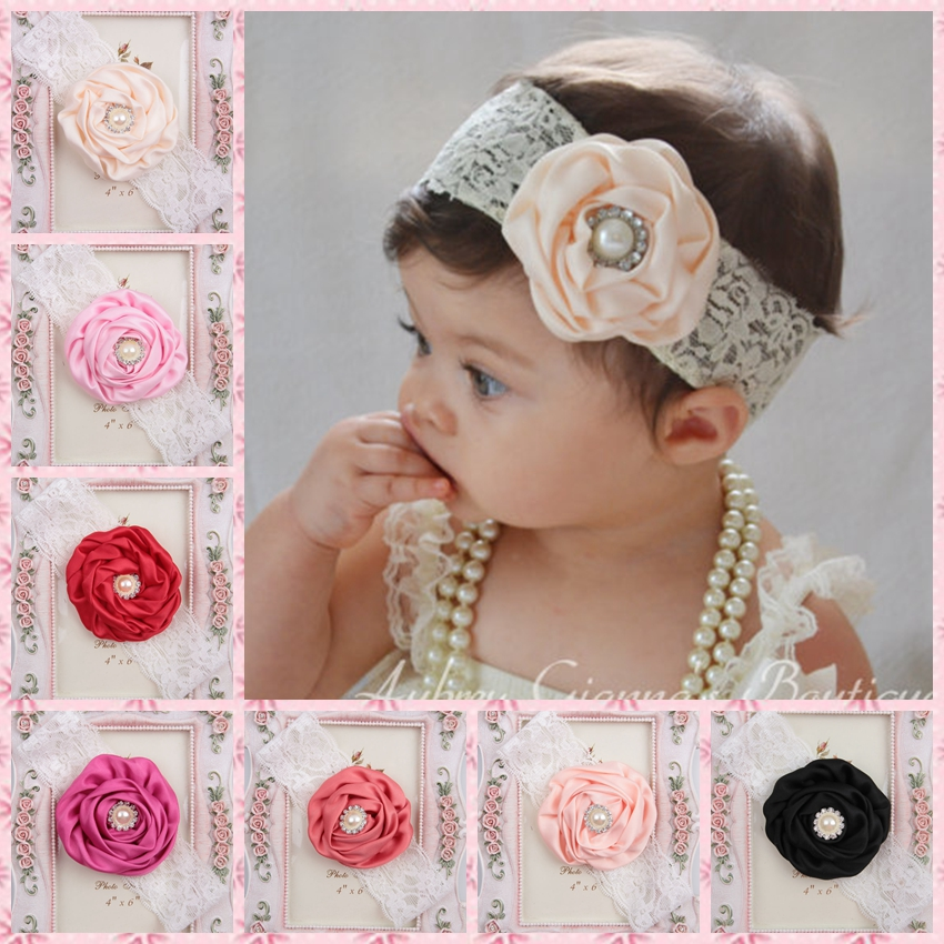 Hot Sale Fashion Satin Rose Flower With Pearl Headband For Baby Elastic Lace Headbands Christening Holiday Headband Photo Prop