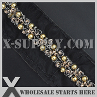 DHL Free Shipping Decoration Black Bridal Lace Trim with Plastic Beads and Mini Beads for Wedding Dress,Collars,Clothes