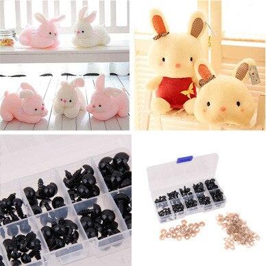 6/8/9/10/12mm 100pcs Black Safety Dolls Eyes Nose Black Plastic for DIY Crafts Box Teddy Bear Doll Animal Craft Doll Accessories