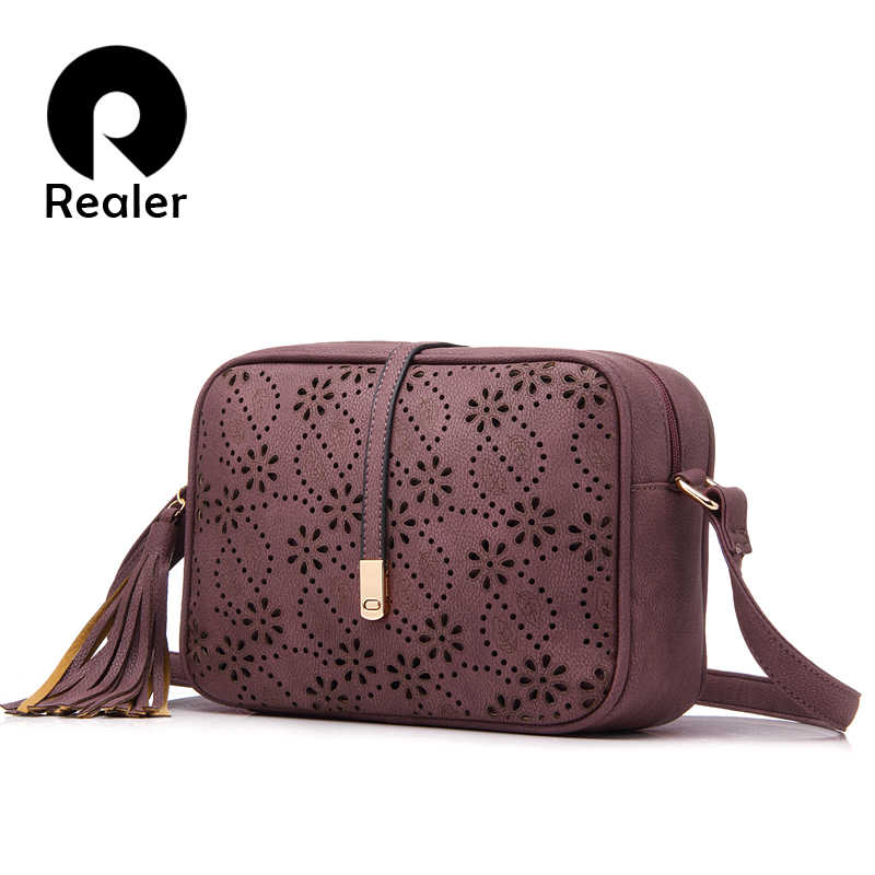 REALER brand women messenger bags with tassel floral hollow out design  handbag ladies solid small shoulder 1a957e589a6fe