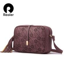 821902c3cc REALER delle donne di marca borse a tracolla con nappa floreale scava fuori  il disegno della borsa delle signore solido borsa a .