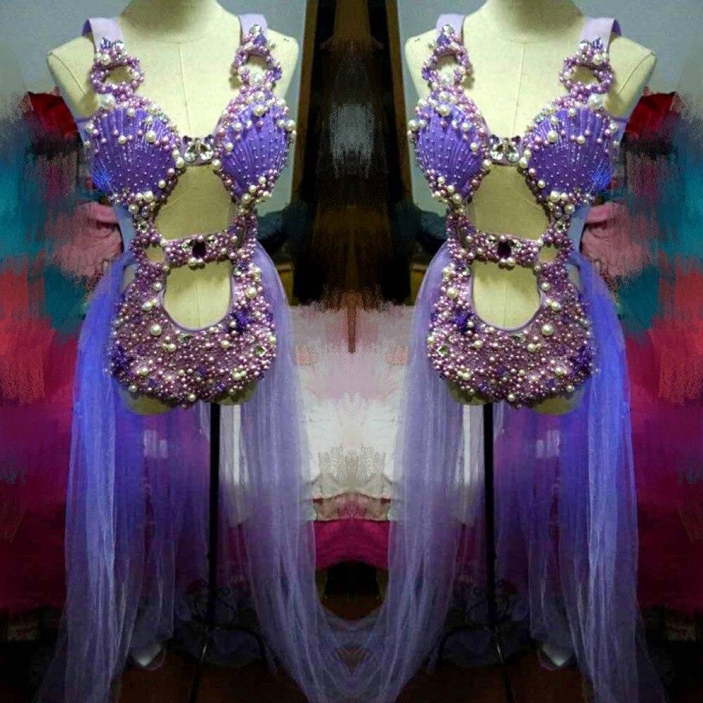 Женский костюм с жемчужинами и кристаллами, комплект из трех предметов, блестящий женский комбинезон с кристаллами, сексуальный костюм для ...