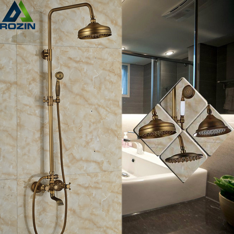 Luxury 6-style Wall Mount 8 Rainfall Shower Mixer Faucet Set Antique Brass Bathtub Shower Mixer Tap luxury temperature control thermostatic shower faucet set wall mount 8 rainfall shower set mixer tap