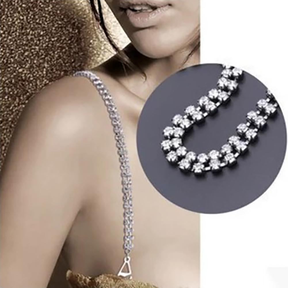 New 2 Rows Transparent Clear Crystal Gorgeous Prom Diamante Rhinestone Bra Straps Belt Newest party underwear women bra strap