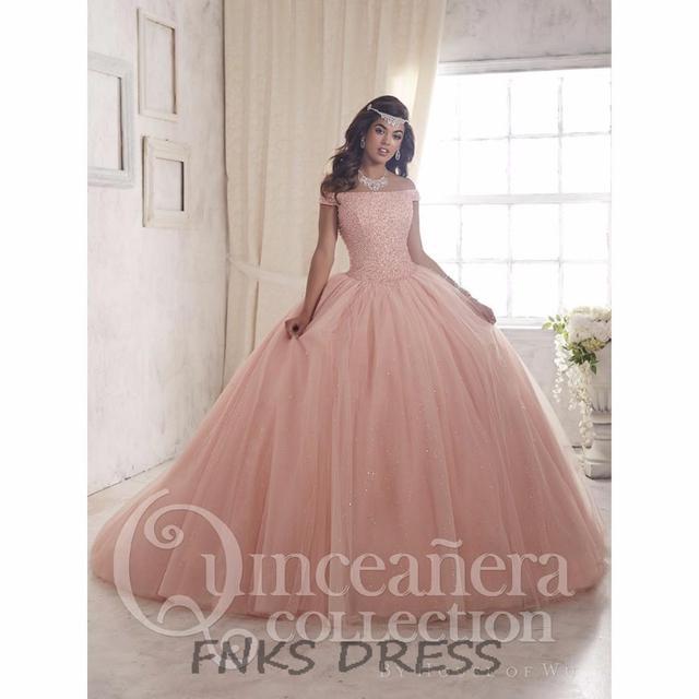 Fora Do Ombro Princesa Pêssego Rosa Quinceanera Vestidos vestidos de 15 años Pageant Beading Espartilho vestido de Baile Doce 16 Vestido QD20