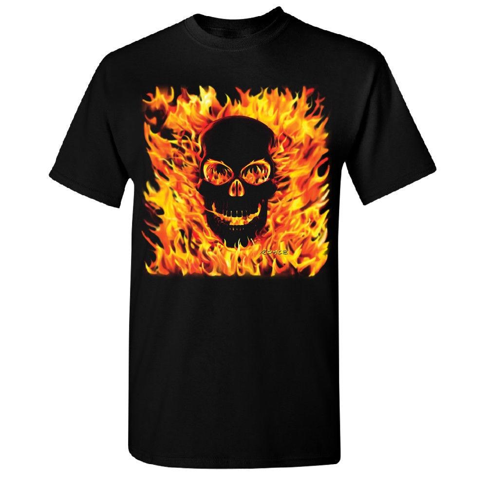 Burning Evil Skull Flames Mens T-shirt High Quality Brand Hot Selling 100 % Cotton