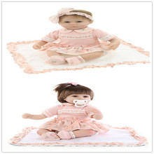 "Birthday Gift 17"" About 43cm Silicone-Reborn-Baby-Dolls With Cotton Blended Fabric Princess Like Bebe Reborn Menina As Doll Toy"