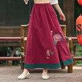 2016 Moda Retro Para Mujer Faldas Primavera Verano New Wine Red Elástica Cintura de Algodón Patrón de Lino Bordado Hendidura Casual