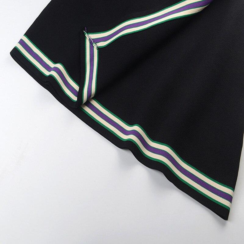 Rétro rayé Mini jupe Femme été femmes jupe fendu tricot jupe piste bas taille haute - 4