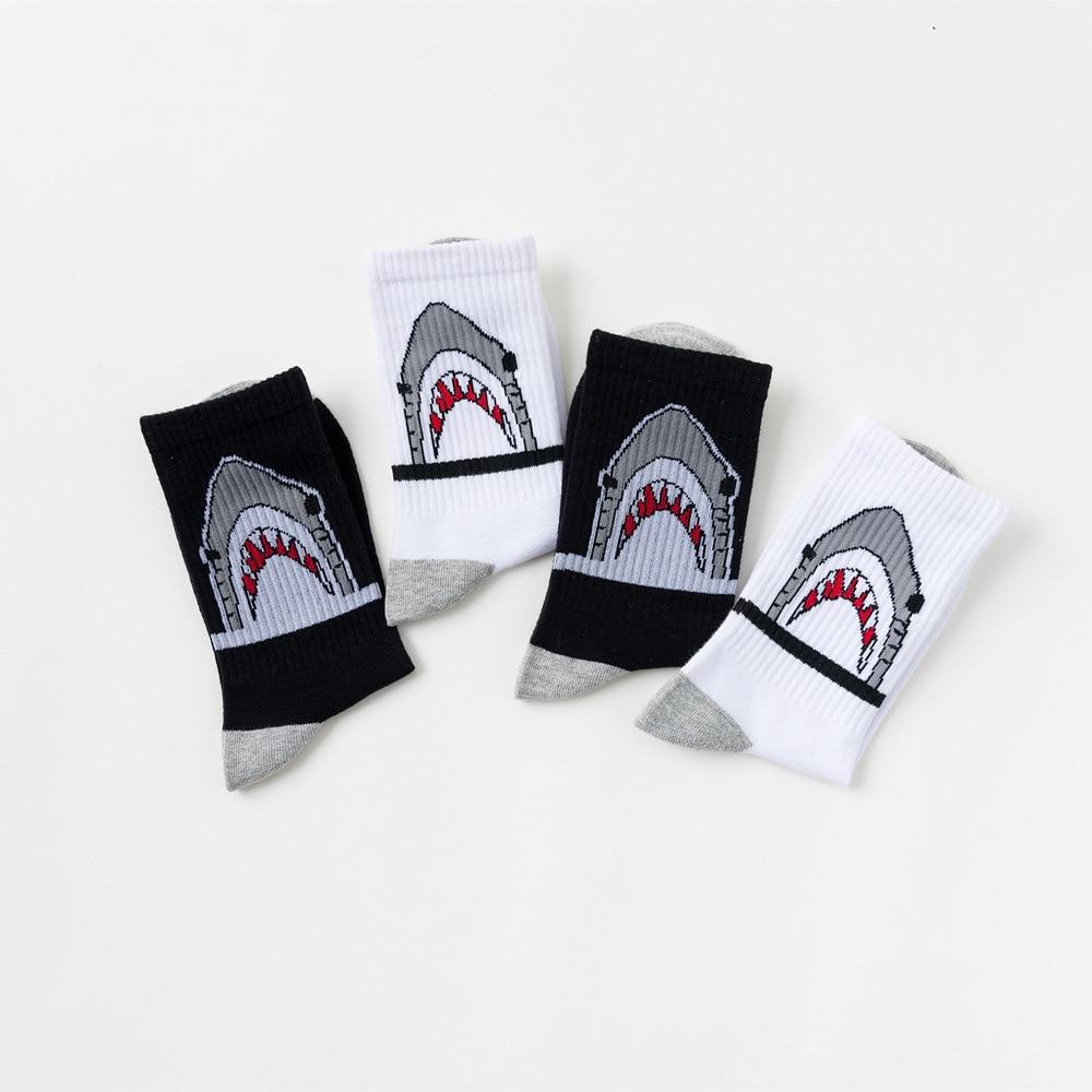 1 Pairs Unisex Men Short Socks Women Harajuku Cartoon Shark Ankle Socks Cotton Polyester Fashion Street Trend Skateboard Socks