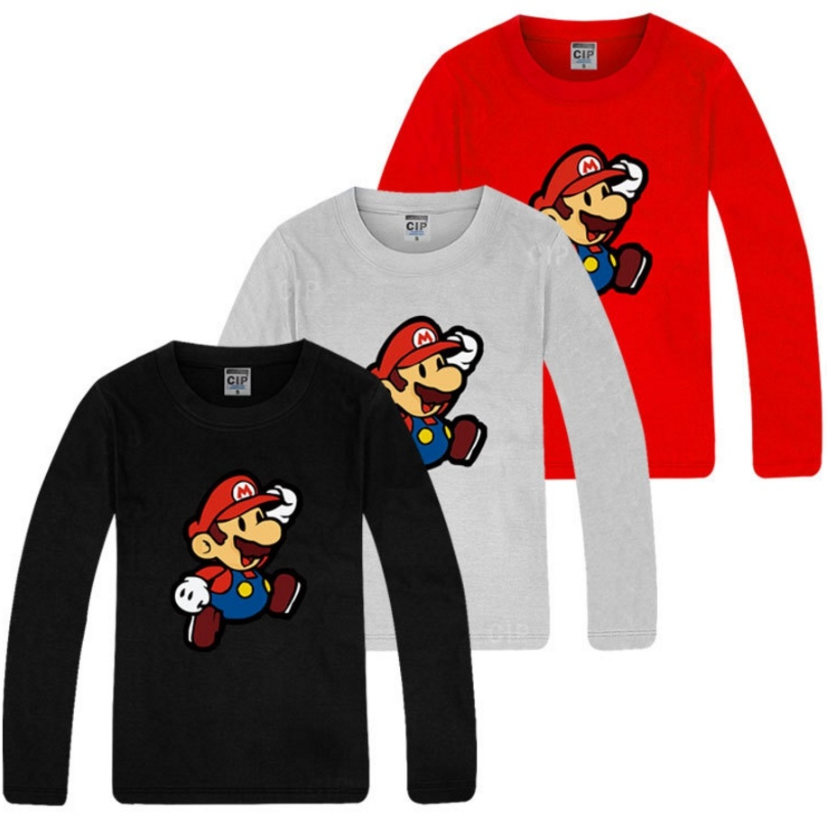 Super Mario Bros Boys Long Sleeve T-Shirt red