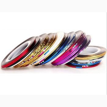 30 rollos 1mm cinta para uñas línea plata oro láser adhesivo Holo 3D pegatina decoración DIY tiras arte de uñas la herramienta de accesorios