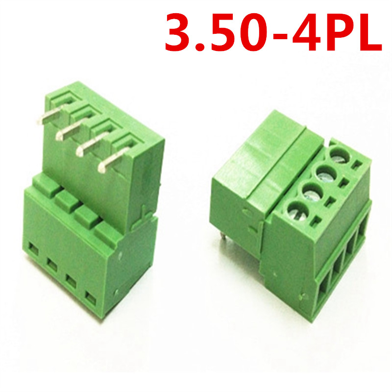10sets 4Pin Electrical PCB 15EDG-3.5mm Pitch Right Angle Plug-in Bend Screw Green Terminal Block Connector pin header and socket
