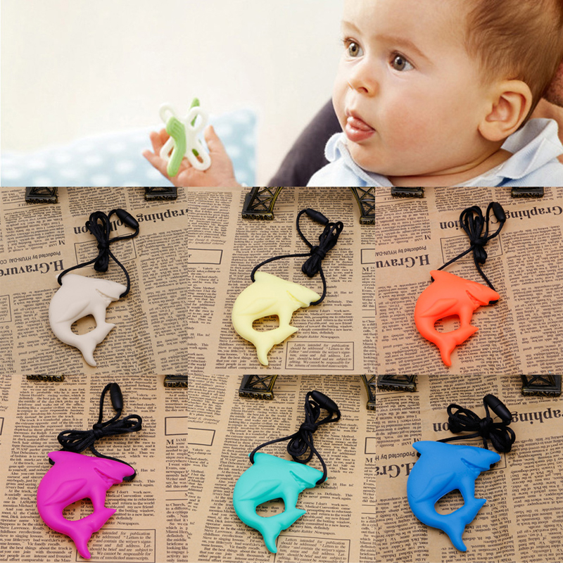 2018 New Shark Pendant Baby Teething Necklace Silicone Teether Autism Sensory Chew Baby Kids Child Gifts