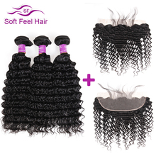 Soft Feel Hair Deep Wave Brazilian Hair Lace Frontal Closure With Bundles Human Hair 3/4 Bundles With Frontal Non Remy Weave