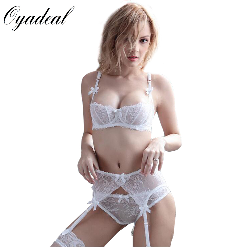 Women's Intimates France New Young Sexy Bra Bandage Lace Womens Underwear Set Embroidery Lingerie For Women Ultrathin Brassiere White Gauze Profit Small
