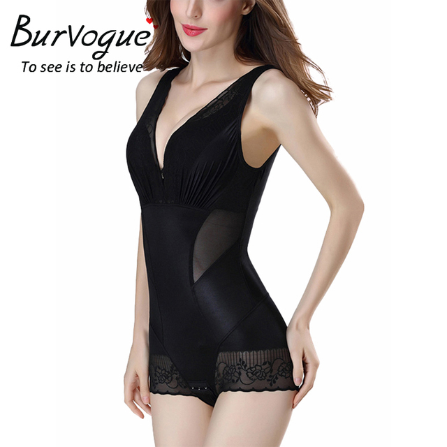 Burvogue Body Shapers Overbust Shapewear Slimming Lace Underwear Tummy Control Shaper Briefer Bodysuit Full Body Shaper