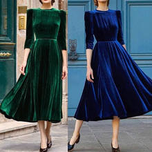 2018 New Velvet Dress Women Velour Formal Tea Party Evening Long Maxi Dress  Lady Vintage Ball Gown Spring Fall Dress Blue Green c9896023ee7c