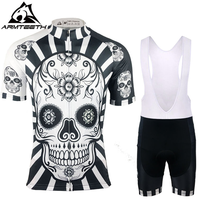 2017 Skull Men Short Sleeve Cycling Sets MTB Clothing Breathable Bike Jerseys Clothes Maillot Ropa Ciclismo Cycling Jerseys cycling clothing rushed mtb mavic 2017 bike jerseys men for graffiti cycling polyester breathable bicycle new multicolor s 6xl