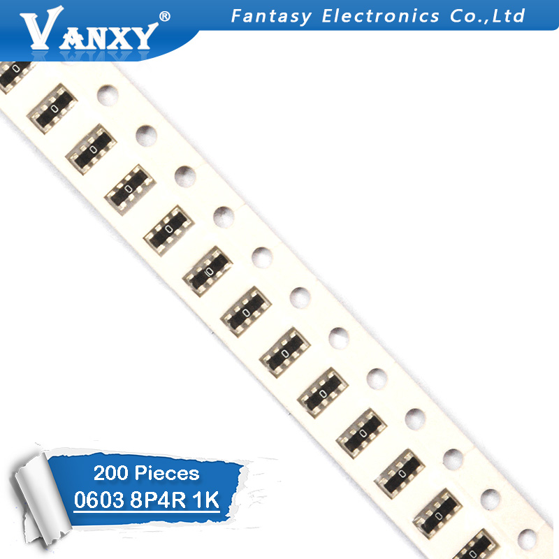 200pcs <font><b>SMD</b></font> exclusion <font><b>0603</b></font> 8P4R 2*4P <font><b>1K</b></font> ohm Network <font><b>Resistor</b></font> array image