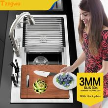 Tangwu kitchen 304 stainless  single trough big wash dishes under the table Kitchen Sinks