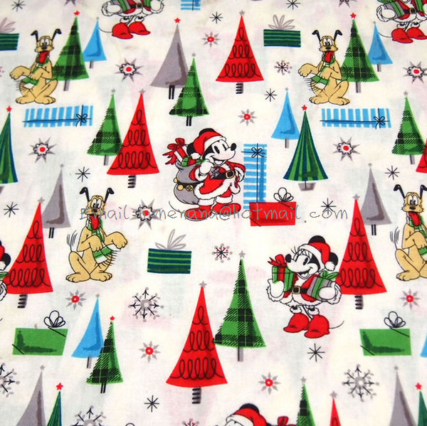 mi161 1 yard cotton woven fabric vintage christmas day mickey mouse minnie mouse and trees light yellow w100 in fabric from home garden on - Vintage Christmas Fabric