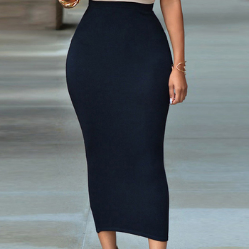 Bigsweety Mid-Calf Casual Skirt High Waist Bodycon Skirt For Women Office Lady OL Skirt Solid Black Grey Green Maxi Skirt фото