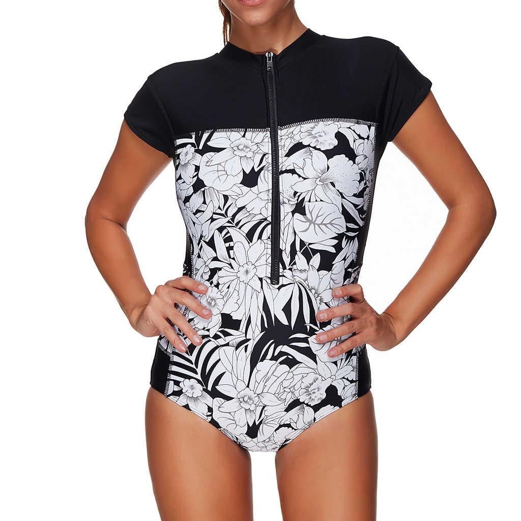 2018 One Piece Swimsuit Lengan Pendek Baju Renang Olahraga Ruam Penjaga Wanita Zipper Surfing Memakai Seksi Monokini K Berlaku Baju