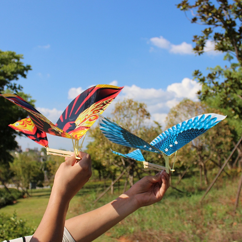 10Pcs/set Elastic Rubber Band Powered Flying Birds Kite Funny Kids Toy Gift Outdoor Toy