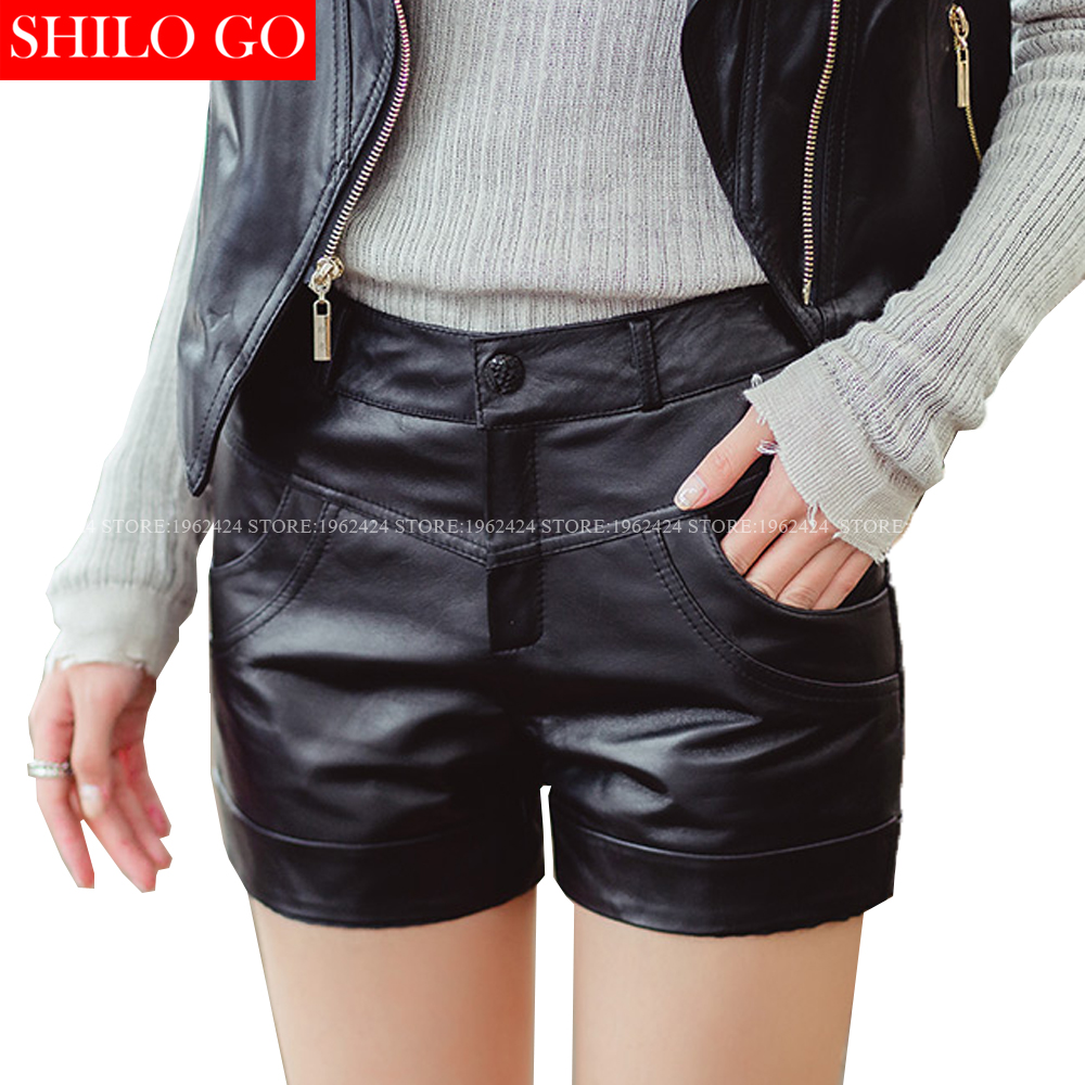 SHILO GO New Fashion Street Women's Pocket Shorts Leather Shorts Sheepskin Genuine Black Shorts New Ladies Casual Concise Shorts