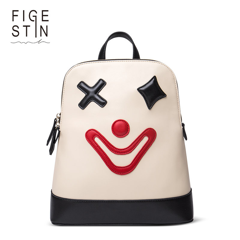 FIGESTIN Backpacks for Teenager Girls Fashion Cute White Cartoon Clown Pattern School Backpack Original Design School Bags Women