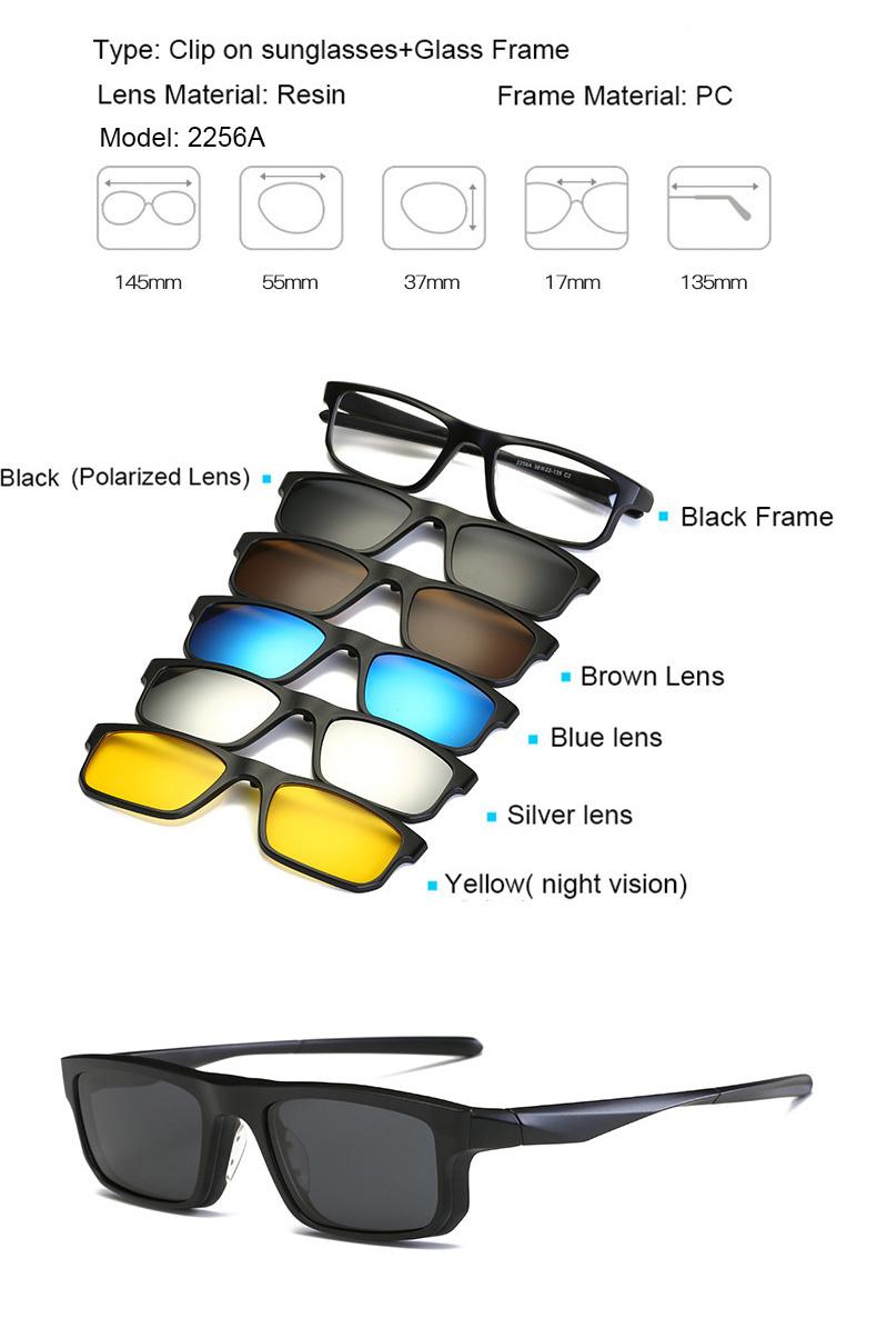 a91dcab95b454 Model 2256A 1 black frame (with demo glasses) +1pcs polarized lens+3pcs  UV400 lens+1pcs night vision lens ...