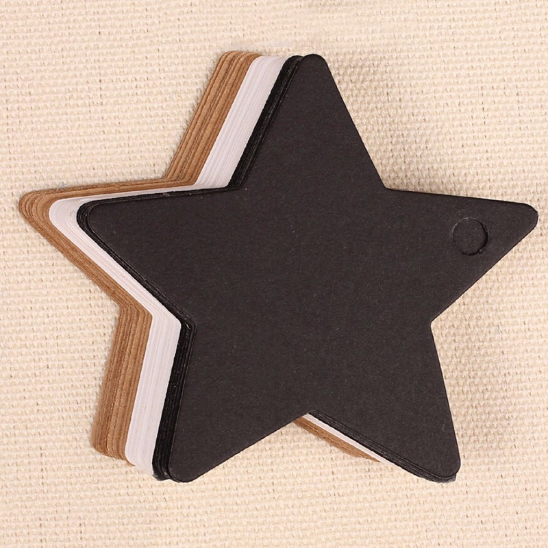 Star Kraft Paper Label Wedding Christmas Halloween Party Favor Price Gift Card Luggage Tags White Black Brown 100PCS