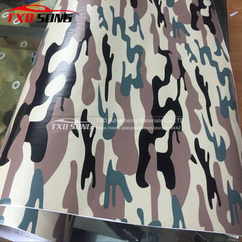 New Arrival Camouflage Vinyl Adhesive green brown black Camo Film Military Motorcycle Scooter Decal Wrap Color Change Sticker image