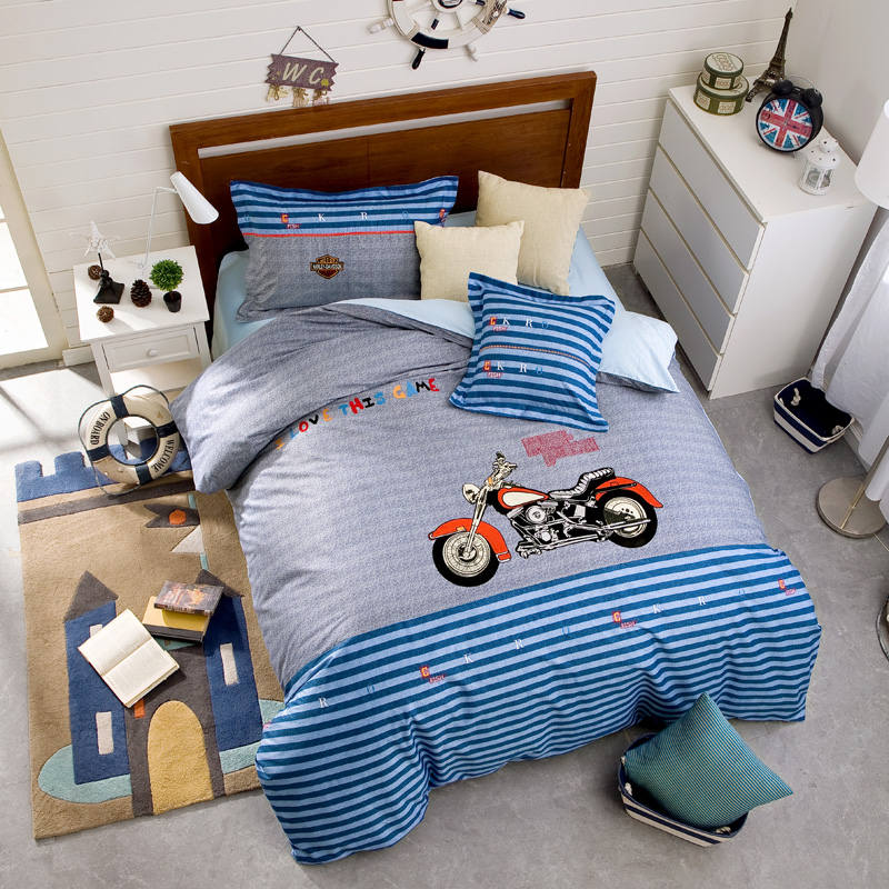 Blue Stripes Motorcycle Applique Embroidered Bedding Set