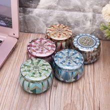 Ретро круглая жестяная коробка банка для чая, конфет, ювелирная монета, контейнер для хранения, чехол для свечей, герметичный держатель для банок, свадебный подарок