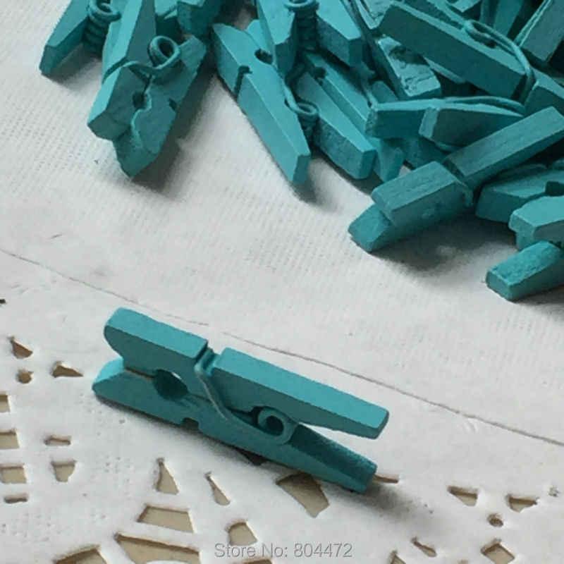 50 Mini Clips de madera azul claro boda Favor azul Aqua pinzas de ropa miniatura