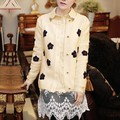 Autumn Women Crochet Daisy Flower Print Cardigan Knit Sweater Top