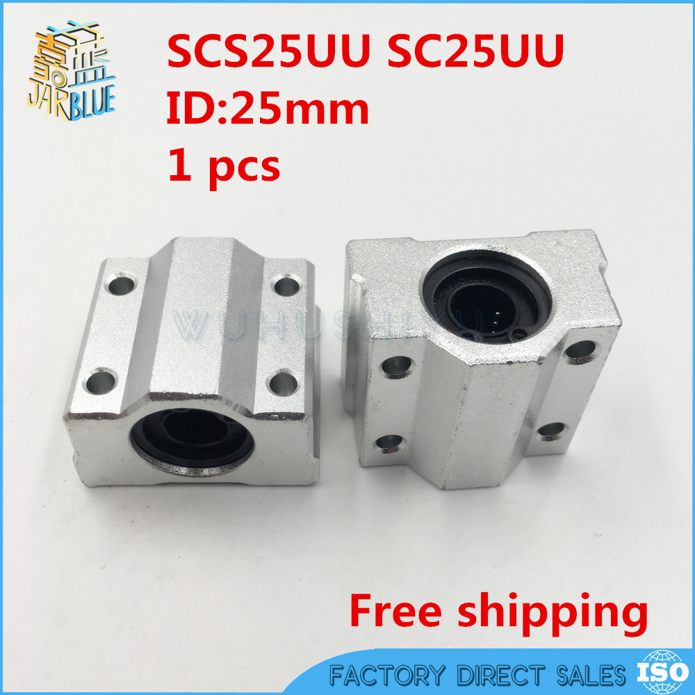 1 pc SC25UU SCS25UU 25mm Linear Ball Bearing Linear Motion Bearing Slide For CNC Free Shipping Linear Guides section three track rail drawer slide rails 3 row ball bearing linear guides thicker