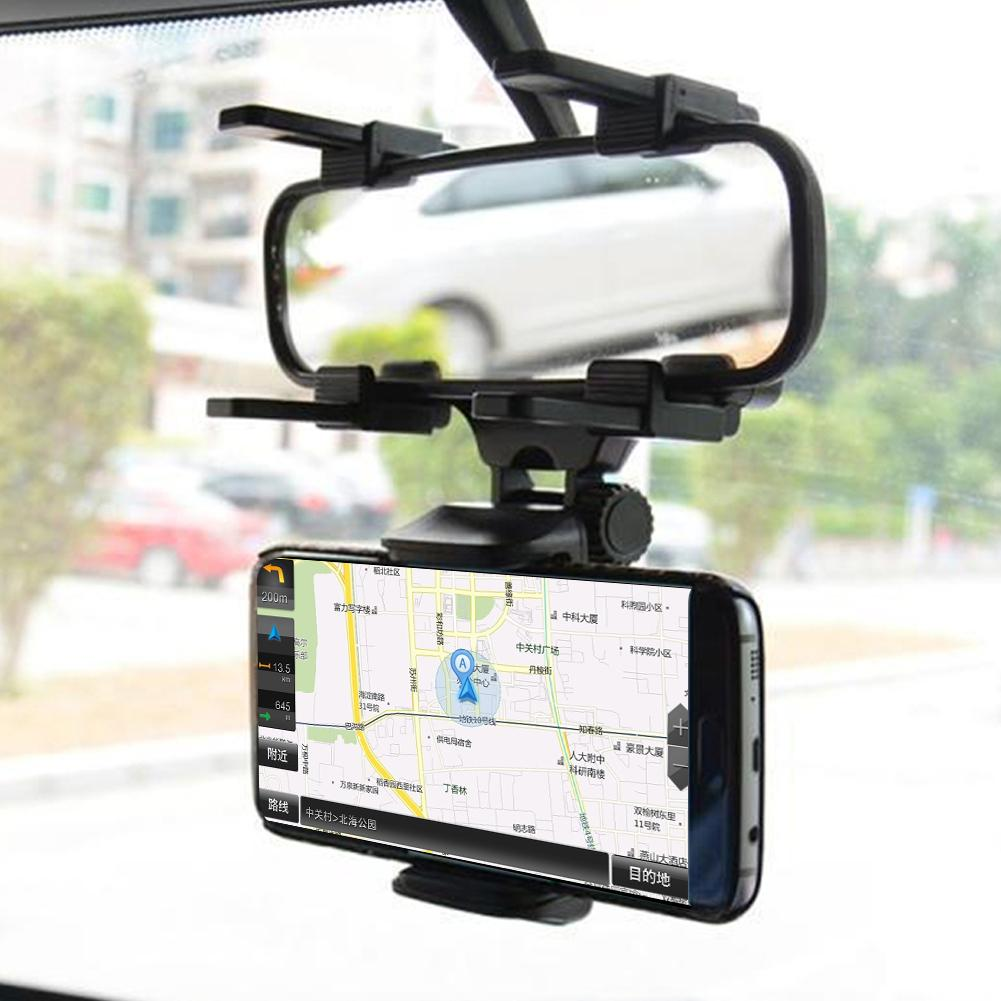 Universal Car Rearview Mirror Mount Stand Holder Clip for Mobile Phone GPS Car Rearview Mirror Mount for iPhone Samsung