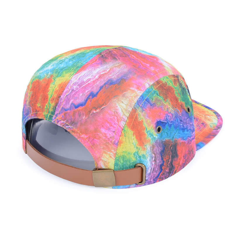 Hot Selling Summer Fashion Tie Dye 5 Panel Hats Rainbow Multicolor Print  Casual Baseball Caps Strapback Cap For Adult Goldtop-in Baseball Caps from  Apparel ... 62f56e2d978
