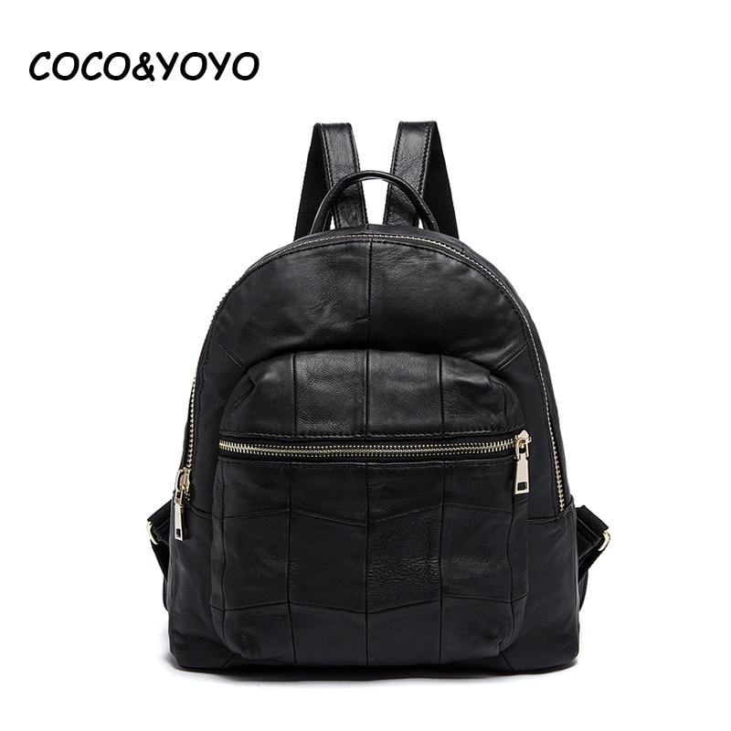COCO&YOYO Brand Fashion Genuine Leather Women Backpacks Preppy Style School Bags for Teenagers  Vintage Black Travel Bag mochila
