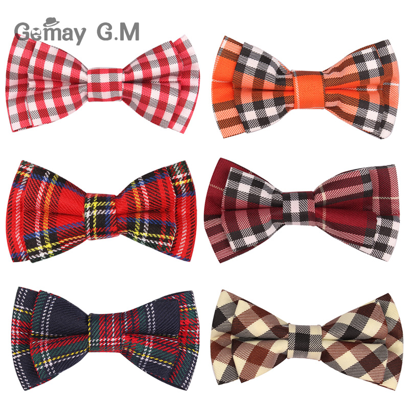 New Plaid Bow ties For Children Neckwear Adjustable Tuxedo Boys Girls Bow Tie For Party Causal Cotton Bowties plaid