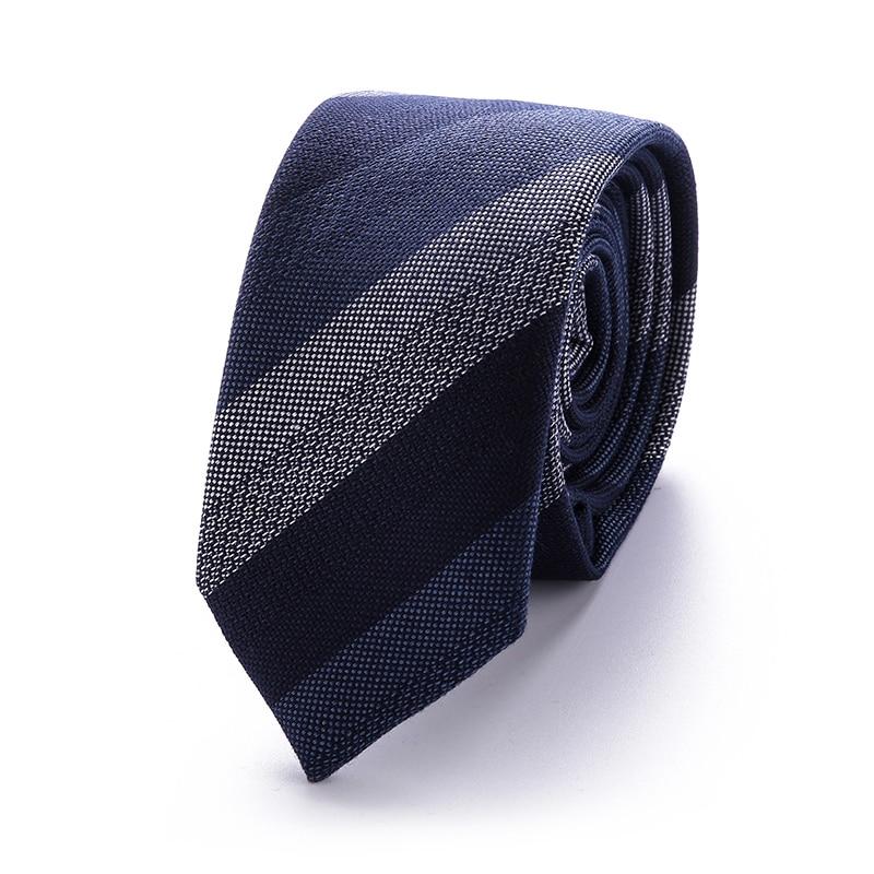 Men's Tie Skinny Tie Blue Striped Novelty Narrow Classic Slim Necktie Cotton 6 Cm For Men Wedding Party Business T51-20